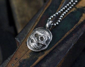 Skull necklace, sterling skull pendant, memento mori necklace, sugar skull necklace