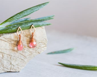 Rose Quartz Earrings, Rose Gold Geometric Earring, Wire Wrapped, Hand Carved Gemstone