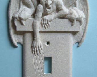GARGOYLE Decor LIght Switch Plate wall cover toggle switchplate outlet gothic goth Carved  Gift Sculptures Ornaments Decorative  Housewares