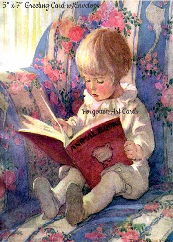 """Little Boy Reads The Animal Book, 5""""x7"""" Greeting Card with Envelope,  Jessie Willcox Smith, Forgotten Art Cards, Pretty Girl Postcards"""