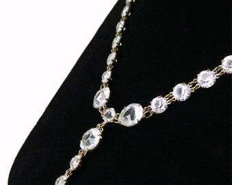 Vintage 1920s Art Deco Open Backed Crystal Necklace