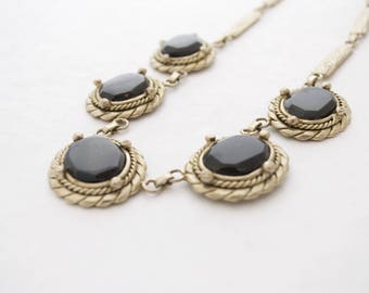 Vintage IXEL Hematite Brutalist Pendant Necklace - Silver Tone - Statement
