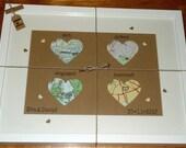 Map Love Hearts - Personalised Wedding Keepsake - Framed Gift  - Custom Anniversary Gift - Map of Love - Handmade in Ireland
