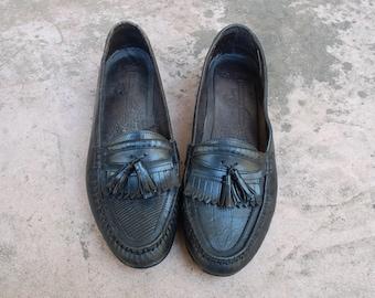 Vintage Mens 9.5d Giorgio Brutini Le Glove Genuine Lizard Slip On Tassel Fringe Loafers Black Leather Authentic Classic Dress Shoes Hipster