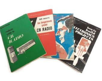Set of 4 Vintage Radio & Electronics Guides, CB Radio Handbooks, Electronic Projects Instructions, G. E. Circuit Manual, Hobby Guides Lot