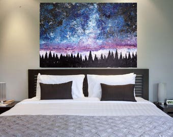 READY TO SHIP: 24x36 Original Painted Textured Aurora Borealis Northern Lights Cosmos Night Sky Pine Tree Landscape
