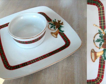 Christmas Chip and Dip The Hunt Georges Briard Red Green Gold Plaid