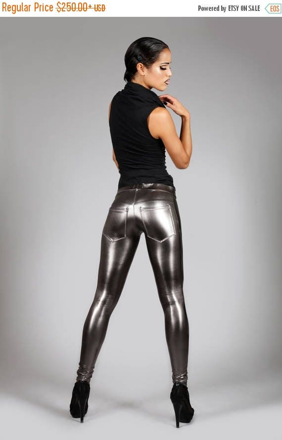 Yearly Sale: Metallic Jeans-Back Leggings, Gun Metal Spandex Pants, Dark Silver, Futuristic Stage Wear, Glam Rock Clothing, Burning Man, by