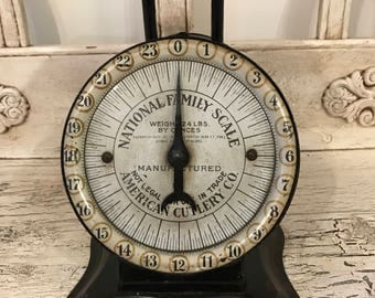 Vintage Black Kitchen Scale - National Family Scale  American Cutlery Co