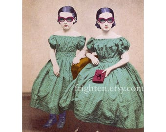 Mixed Media Collage Art Print, Whimsical Altered Portrait Photography of Victorian Sisters 5x7 or 8x10 Print, Dorm Room Decor