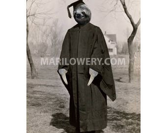 Sloth Art Print, Sloth Graduation, Animal Wall Decor, Graduation Gift, Anthropomorphic Art, 5x7 Inch Print Matted in 8x10 Mat
