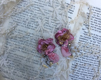 Princess pink shabby earrings