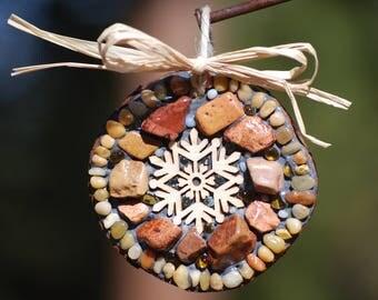 Mosaic Snowflake ornament,Christmas tree decoration,mosaic ornament,rustic holiday decor,mosaic tree decoration,stocking stuffer,mosaic art