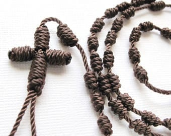 Knotted Rosary•Twine Rosary•Brown Cord Rosary•Catholic Rosary•Catholic Gift•Teen Rosary•Confirmation•First Communion•KN0027•OURLADYBeads