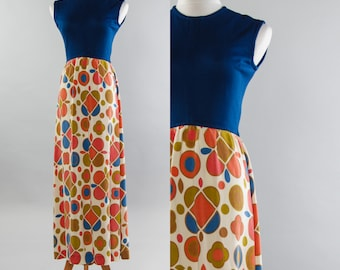1960s Mod Dress | Long Geometric Blue Orange & Gold With Stretch Knit Top Frock | Size SMALL
