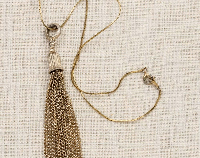 Tassel Necklace Vintage Gold Chain Costume Jewelry Manon 7L