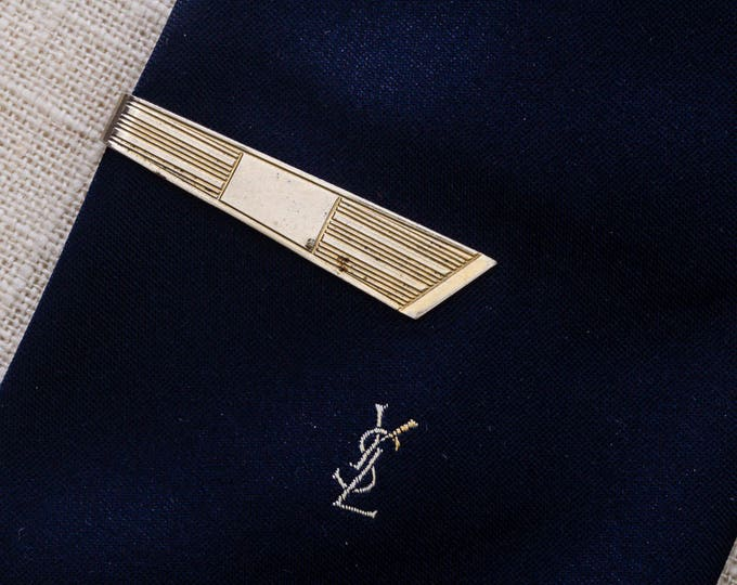 Etched Tie Clip Vintage Gold Linear Lines Men's Accessories Add On 7WW