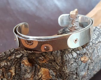 Sterling Silver Cuff with Tooled Leather Segment