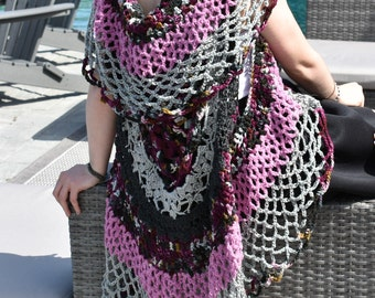 Crochet Circle Vest, Crochet Mandala Vest, Circular Vest, Hippie Vest, Circle Vest, Boho Vest, Crochet Vest, Kimono Sweater, Long Vest