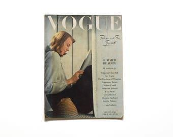 vintage 40s Vogue Magazine July 15 1943 Fasion and Fur Forecast 1940 fashion magazine advertisting scrapbook WWII