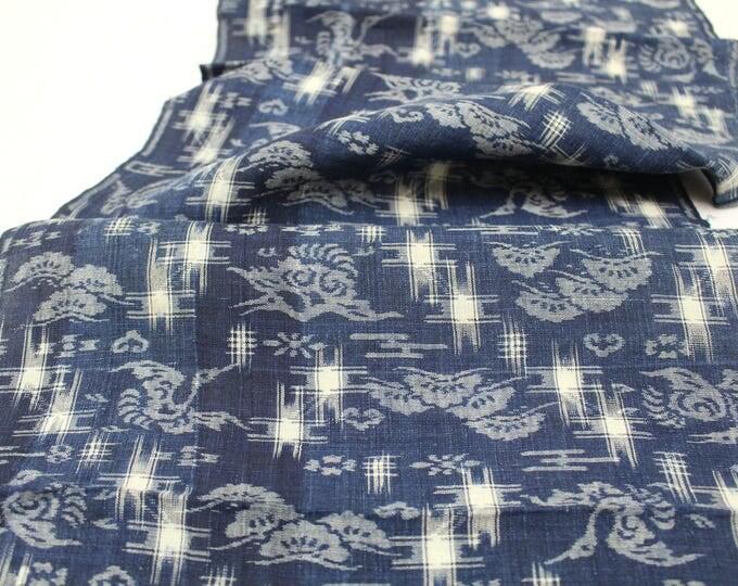 Egasuri. Japanese Vintage Artisan Textile. Hand Woven Indigo Cotton Fabric. Boro Folk Textile. (Ref: 1888)