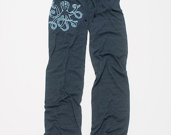 lost at sea Octopus Pants, Yoga Pants, Wide Leg Pants, Lounge Pants, S,M,L,XL