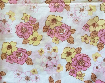 Vintage 60s 70s Pink and Yellow Flower Power Single Flat Sheet (2 available)