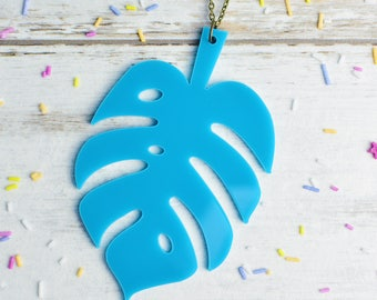 Turquoise Monstera Leaf Necklace | Teal Blue Cheese Plant Statement Necklace | Extra Long Necklace | Nickel Free