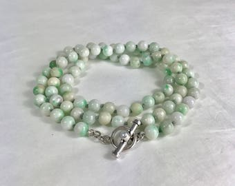 "Moss in Snow Jade 30"" Knotted Necklace with Sterling & Freshwater Pearl Toggle"