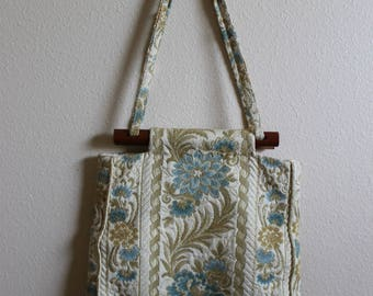 Vintage Craft Bag, Heavy Duty Fabric, Knitting Bag, Crafting Tote, Fabric Pocket Book, Travel Bag
