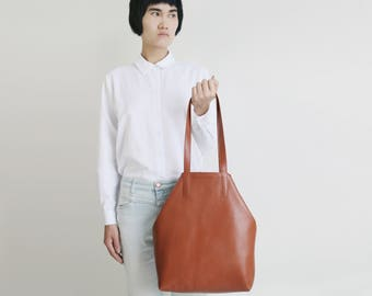 Leather Tote Dark Cognac with Lining, leather shopper, shoulder bag, minimalistic brown tote