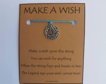 Sail Boat Disc Silvertone Charm WISH STRING Bracelet String Friendship Bracelet  Amulet Lucky Stocking Stuffer