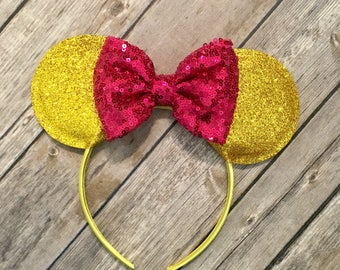 Minnie Mouse ears, Gold Minnie Mouse ears, Pink and Gold Minnie Mouse Ears, Minnie Ears, Mickey Ears,