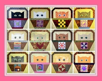 Basket Cat Quilt Block Patterns Complete Set All Twelve Block Patterns, by Curlicue Creations Kitty Quilting Pattern