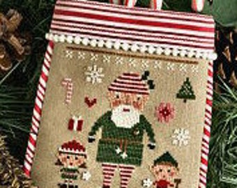 LIZZIE*KATE The Elves Did It counted cross stitch patterns OPTIONAL embellishments Christmas tree snow presents