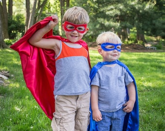 Cape & Mask for a Superhero // red or blue // kids pretend play