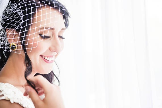 Birdcage Veil, Wedding Veil, Veil, Merry Widow Veil, Bird Cage Veil, Blusher Veil, White Birdcage Veil, English Merry Widow Netting LAUREL
