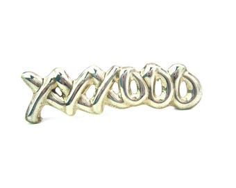XO Jewelry. Kisses and Hugs Brooch. Taxco Silver, Mexico. Sterling Silver 925. Letters Brooch. Vintage 1980's Mexican Jewelry, Gift Idea