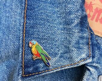 Parrot Pin, Soft Enamel Pin, Jewelry, Art, Animals, Lapel Pin, Stocking Stuffer, Gift (PIN115)