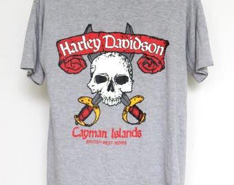 Vintage Harley Davidson T Shirt Mens Unisex Womens Motorcycle Bike Biker 1990s 90s Skull Hogs Heaven Cayman Islands Gray Grey