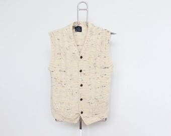 Acrylic Fishermans Sweater Vest Men's Medium Unisex Womens Chunky Button Up Cream Confetti Fishermens Cable Knit Pockets JC Penney Mens Shop
