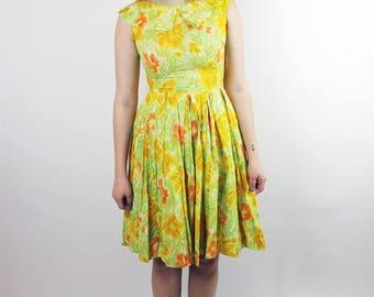 1950s Impressionist Flowers Dress