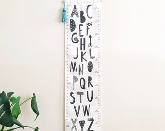 Personalised Alphabet Growth Chart Keepsake Gift Removable Canvas Height Chart Custom Growth Chart Personalized Gift Alphabet kookinuts
