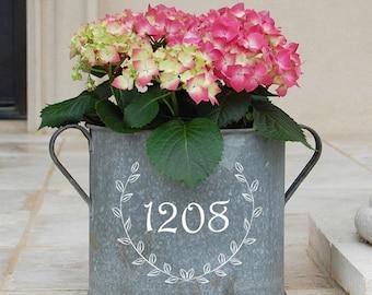Personalized Laurel Vintage Zinc Bucket with Custom Address Number
