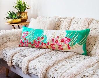 Window Seat Cushion, Japanese Banquette Cushion, Velvet Kimono Pillow, Vintage Wedding Pillow, Long Bolster Pillows, Unique Wedding Gift ECO