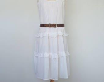 White Festival Dress Floaty Summer Whimsical UK 10 / 12 / 14 M US 8 / 10 / 12