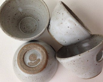 Four Grey Stoneware Pottery Noodle or Rice Bowls