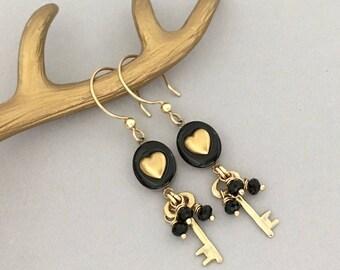 Lightweight Earrings Gift for Mom - Handmade Black Dangle Earrings - Key to my Heart Earrings, Unique One of a Kind Jewelry Earrings for Her