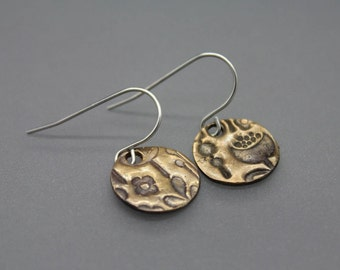 Bronze Earrings, Circle Earrings, Textured Earrings, Mixed Metal Jewelry, Drop Earrings, Disc Earring, Bronze Silver Earring, Spring Earring
