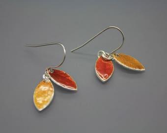 Leaf Earrings, Leaf Jewelry, Fall Leaves, Fused Glass Jewelry, Enamel Jewelry, Enamel Earrings, Glass Jewelry, Glass Earrings, Orange Leaf
